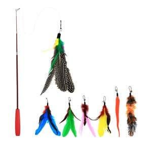 Bascolor Retractable Cat Toys Interactive Feather Teaser Wand Toy