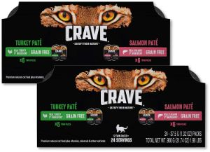 Crave Wet Cat Food Trays – 24 pack – Turkey & Salmon