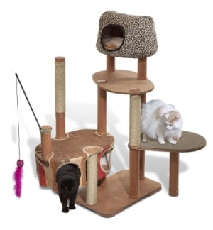 Solvit Kittyscape Cat Tower With Scratching Post and Toys