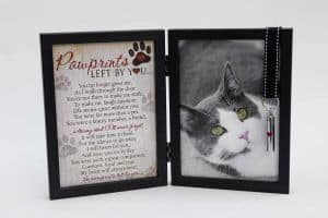 Pawprints Pet Memorial Frame for Cats with Keepsake