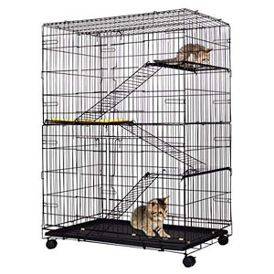 Giantex Cat Playpen Cat Cage with 3 Climbing Ladders & 3 Rest Benches & Cushion