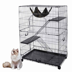 YesHom Large Cat Pets Wire Cage 2 Door Playpen with Hammock 2 Ramp Ladders