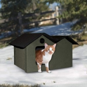 K&H Pet Products Outdoor Kitty House Extra-Wide Olive
