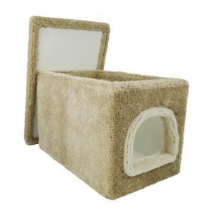 cat litter box furniture in beige