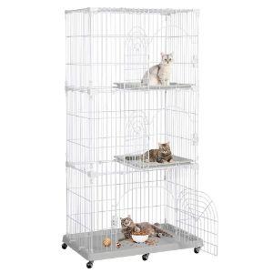 Yaheetech 3 Tier Large Wire Pet Enclosure on Wheels-min