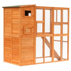 PawHut Large Wooden Outdoor Cat House-min
