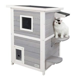 Petsfit 2-Story Weatherproof Outdoor Kitty Cat House